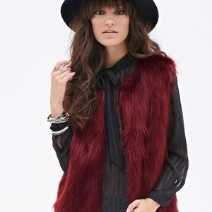 Forever 21 Red Wine Shaggy Faux Fur Vest M